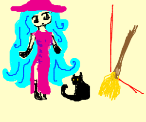 some blue anime girl w/ pink qipao & hat