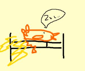 Raichu flatulates lightning while asleep