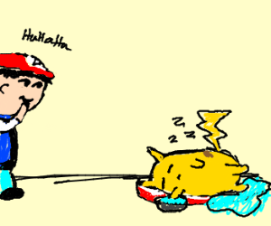 pickachu has an accident while sleeping