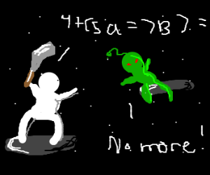 A game about defeating aliens w/ algebra