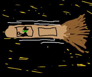 witch flies in her broom thru night sky