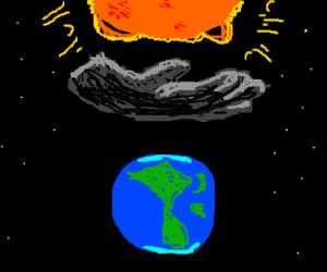 Black hand blocks the sun from earth