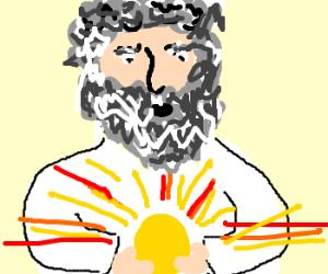 god cupping the sun
