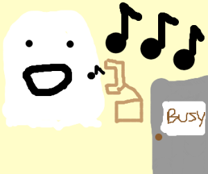Busy ghost sings over the phone
