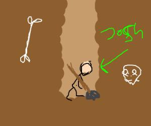 Stick figure Josh digs deep into earth