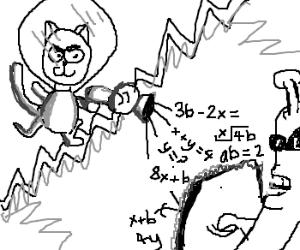 Space cat vs. alien algebra battle
