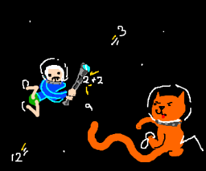 astrocat >:) attacks astronanner w/ MATH