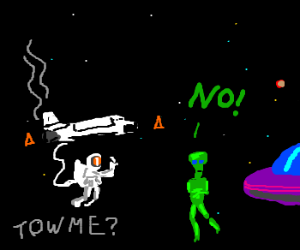 Aliens refuse to help space man
