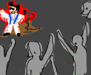 Elvis w/colors singing to grey audience