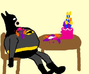 Batman has had too much cake.