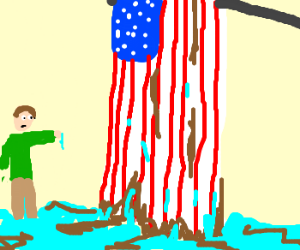 Dirty, dripping US Flag