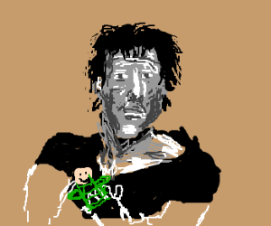 sylvester stallone makes a hand puppet