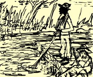 Huck Finn and Jim on a raft.