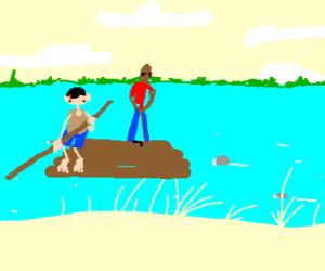 Huck Finn on river raft with Jim