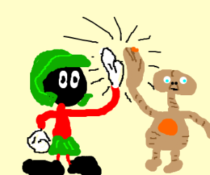 Marvin the Martin and E.T. Team Up