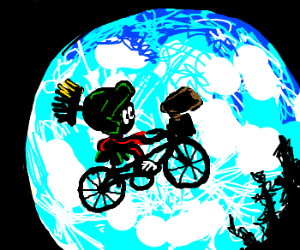 marvin the martian and et on a bike