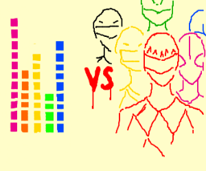 Colorful levels vs. Power Rangers