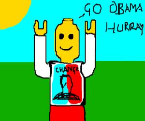 Lego figure cheering