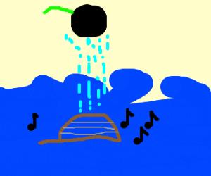 black cherry rains on cello at sea
