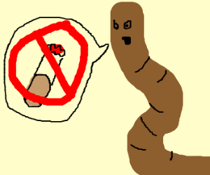 Preachy worm hates smoking.