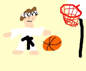 karate kid plays basketball