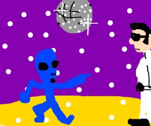 Blue alien asks elvis to do disco