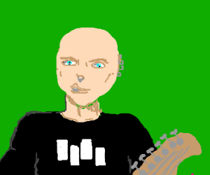 bald man plays guitar in punk rock band