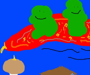 Two booger men ride on a flying carpet