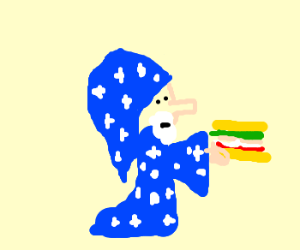 wizard holding a sandwich as link