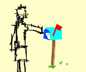 Etch-a-sketch crossdresser checks mail