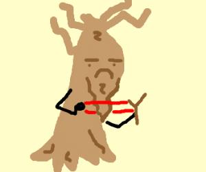Ent with a slingshot