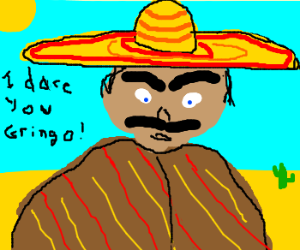 Mexican with large eyebrows threatening