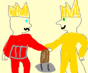 Yellow king, spades and red king
