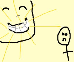Man boasts to friend of perfect teeth.