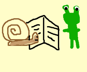 snail reading menu with alien