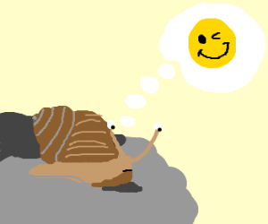 sad snail thinking about a smiley