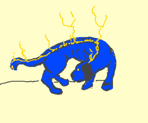 Cobalt dog casts magic out of its spine.