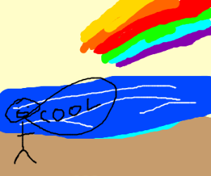 Man on beach sees rainbow