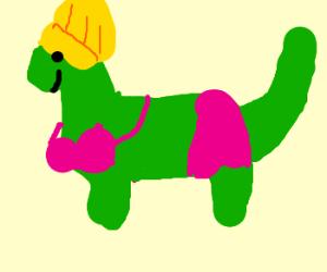 Dino with stylish hairdo,bikini &pink BG