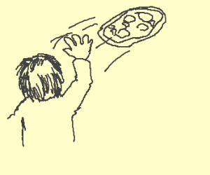 person throwing a pizza