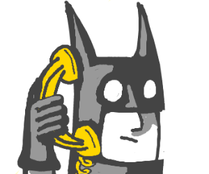 batman using a banana phonne