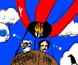 Edgar Poe + Jules Vern as bros in ballon