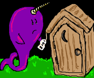 A narwhal shops for an outhouse.