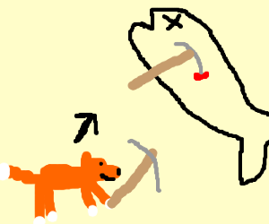 Fox strolling with pick ax to mine fish