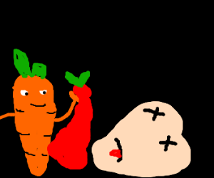 A carrot killed an apple to get disguise