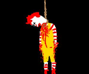 Ronald slits wrists/throat, hangs self.