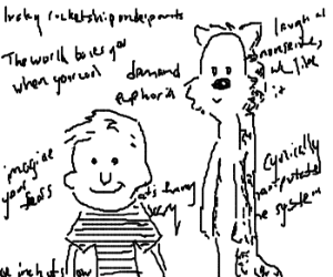 Calvin and Hobbes surrounded by words