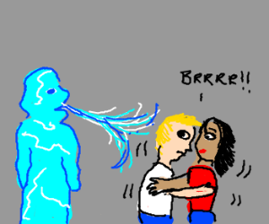 Iceman blows cold air on two people.