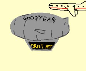 Goodyear blimp staff troll public.