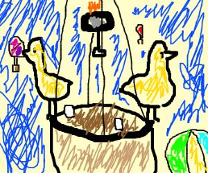 ducks laying eggs in hot air balloon